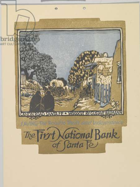 Canon Road, Santa Fe: The First National Bank of Santa Fe, 1919 (colour woodblock print on paper)