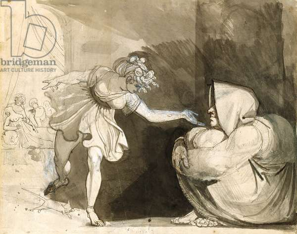 Galinthias Outwits Eileithyia By Announcing The Birth Of Heracles (Verso: Portrait Of Mrs. Fuseli) (graphite, ink and ink washes heightened with white on white laid paper)