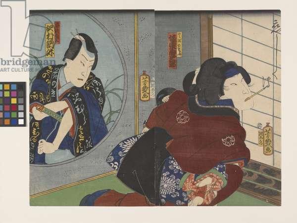 Sawamura Tossh? Ii As Abe Yasuna And Hikosaburo V As Kuzunoha In A Scene From The Play Kuzunoha (colour woodblock print)