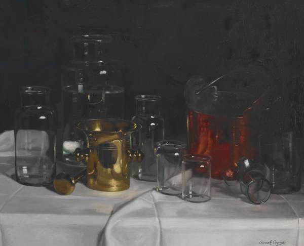 Still Life with Glass Jars (oil on canvas)