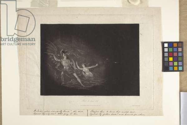 The Conflict Between Satan And Death (mezzotint)