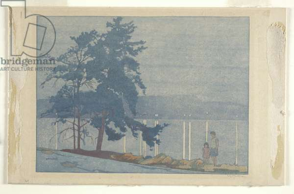 Lake of the Woods (colour woodblock print)