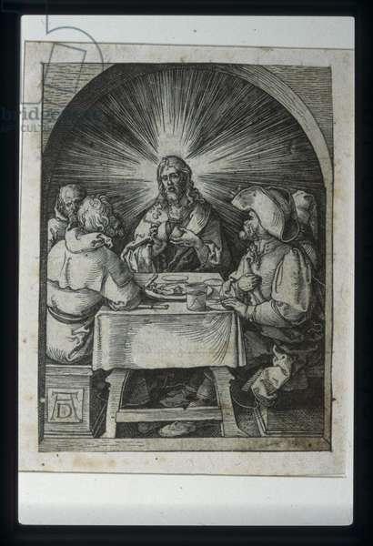 Christ At Emmaus (wood engraving)