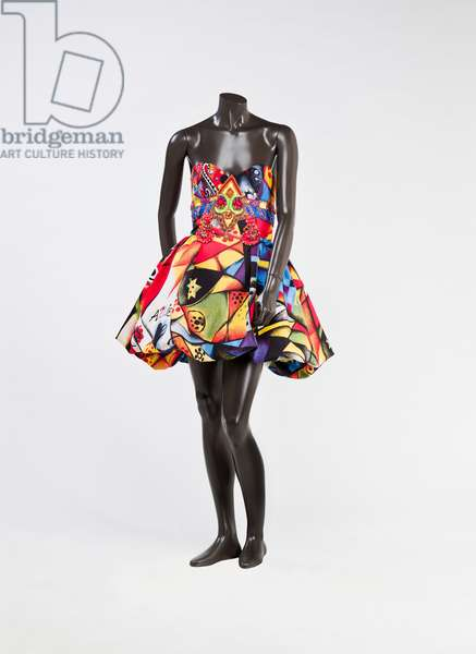 Evening dress, 1991 (acrylic silk, polyester, glass beads, crystal beads, rhinestones & metallic fittings)