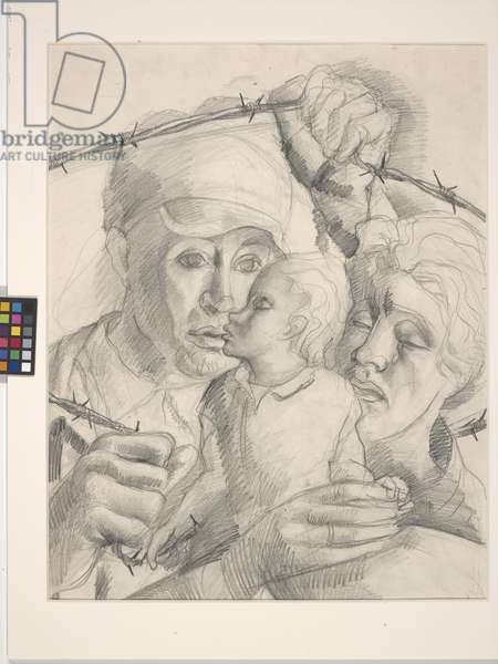 Internment Camp, Argeles, Sur-Mer (pencil on off-white paper)