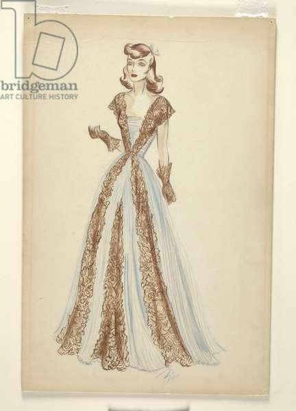Sketch of an evening dress (marker on paper)