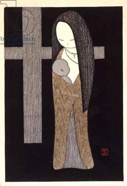 Virgin & Cross (colour woodblock print)