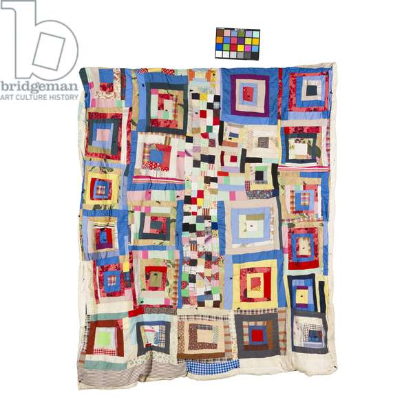 Gee's Bend Quilt, 'Housetop' Variation with 'Postage Stamp' Centre Row, c.1965 (cotton, polyester, wool & corduroy)