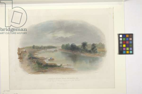 Wabash River, Near Vincennes, Indiana (hand-coloured etching)