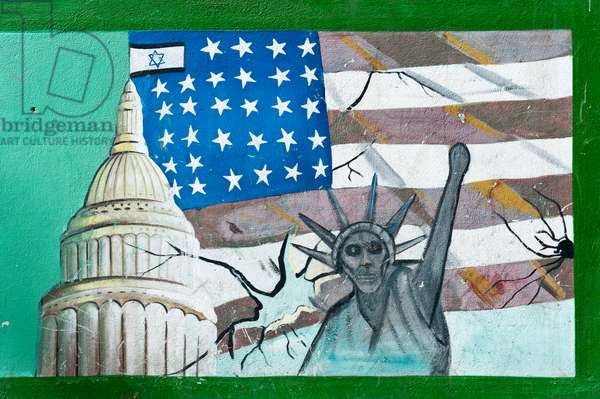 Graffiti on a wall; flag of the United States with Israeli flags; capitol building; Statue of Liberty with a skull face; former Embassy of the United States of America in Tehran; Iran; Asia