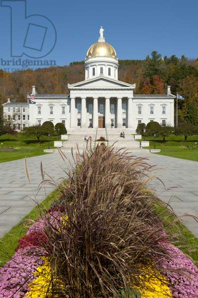 State Capitol with a golden dome; Montpelier; Vermont; New England; USA; North America