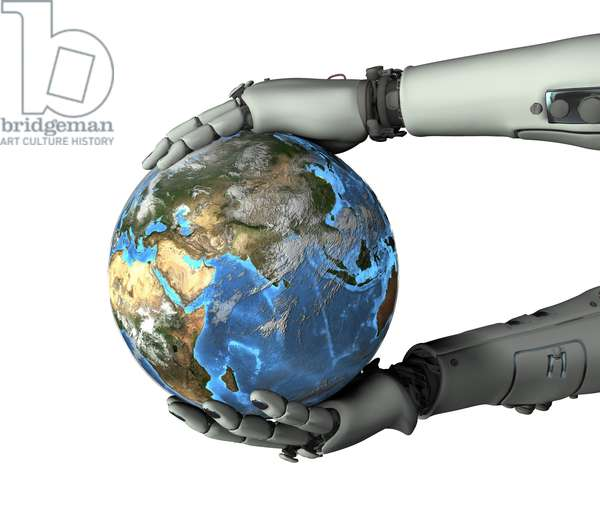 Synthesized image: Earth globe in the hands of a robot