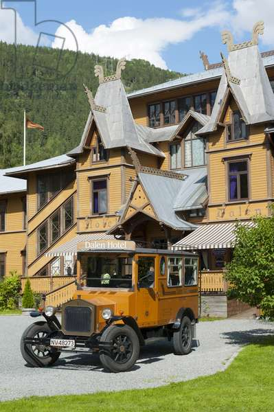Vintage car; parked in front of the Dalen Hotel; Telemark; Norway; Scandinavia; Northern Europe; Europe