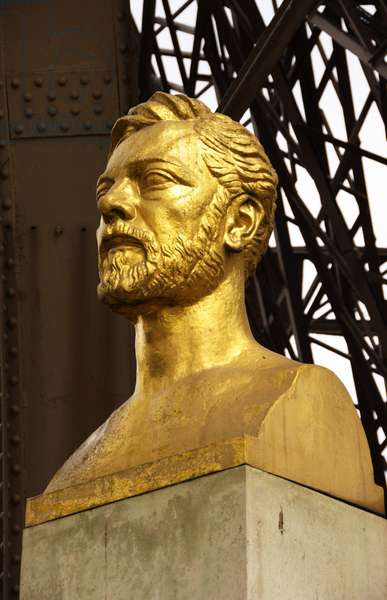 Bust of Gustave Eiffel under the Eiffel Tower, Paris, France