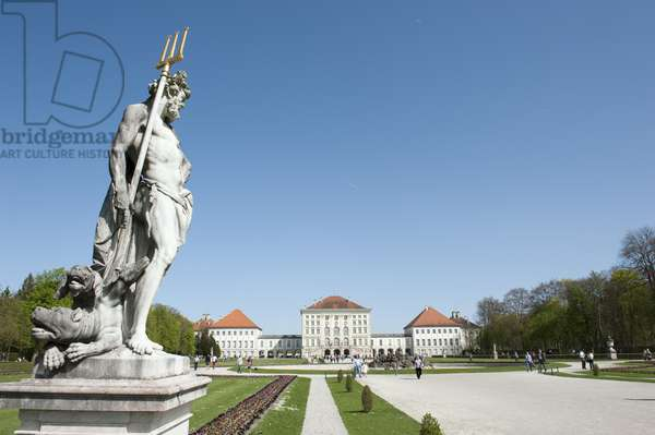 Sculpture of Hades; with Kerberos or Cerberus at his feet; Schlosspark; grounds of Schloss Nymphenburg Palace; summer residence of the Wittelsbach dynasty; Munich; Upper Bavaria; Germany; Europe