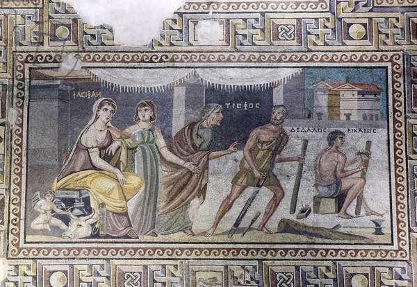 Mosaic, Pasiphae and Daedalus, (Dedale) floor mosaic from Zeugma, Zeugma Mosaic Museum, Gaziantep, Southeastern Anatolia Region, Anatolia, Turkey, Asia