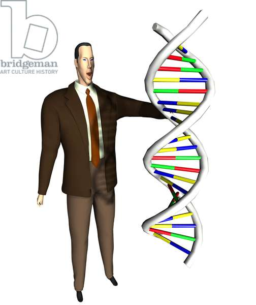 Synthesized image: businessman and structure of DNA molecule (desoxyribonucleic acid or DNA) has double helice.