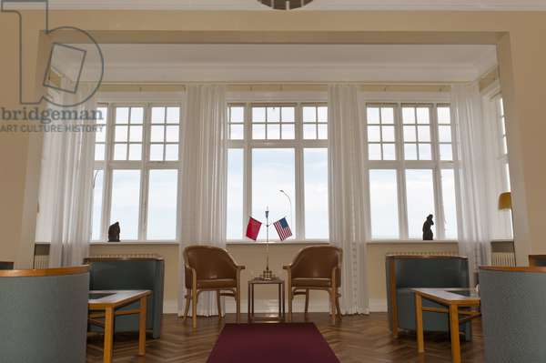 Historical room in the guesthouse; flags of the Soviet Union and the USA; summit between Ronald Reagan and Mikhail Gorbachev in 1986; Reykjavik Summit; Hoefdi; Reykjavik; Iceland; Europe