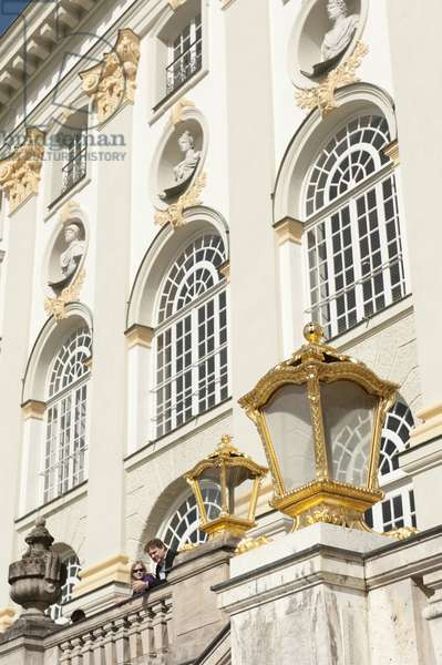 Lantern; windows and facade; Schloss Nymphenburg Palace; summer residence of the Wittelsbach dynasty; Munich; Upper Bavaria; Germany; Europe
