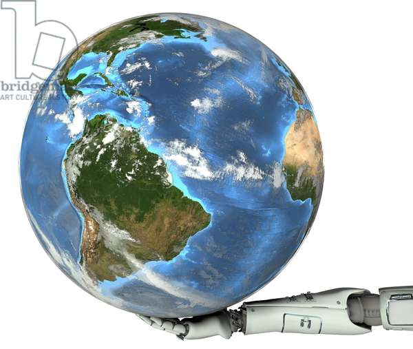 Synthesized image: Earth globe in the hand of a robot