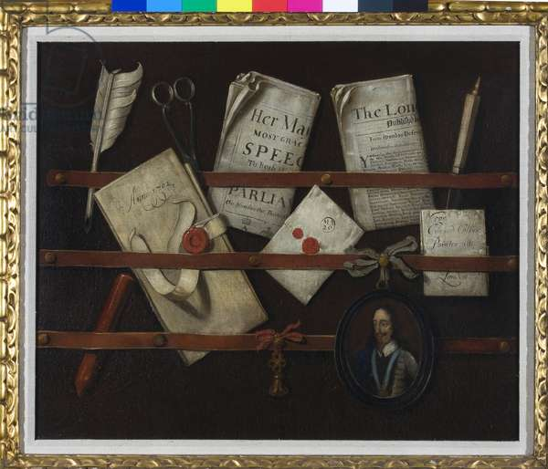 Still Life with a Portrait of King Charles I, 1702 (oil on canvas)
