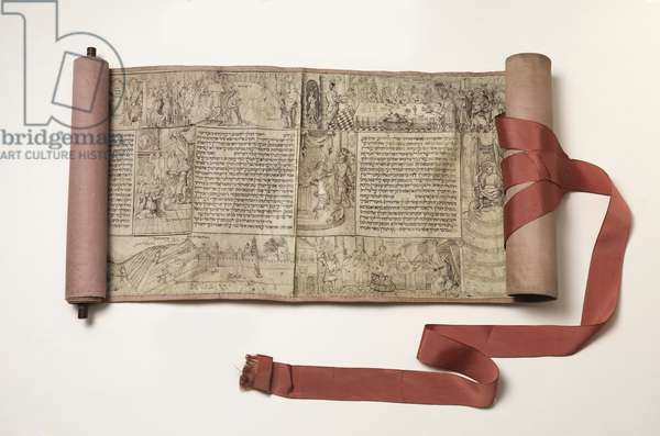Esther scroll, possibly 17th century (handwritten in ink on parchment; carved wood)