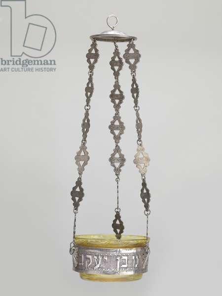 Memorial lamp, Tripoli (silver & glass)
