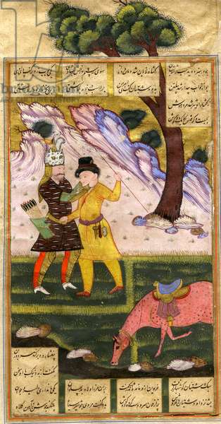 Rustam catches the keeper of the field, from an illustrated manuscript of the Shanama by Ferdowsi c.1620-40 (gouache on paper)