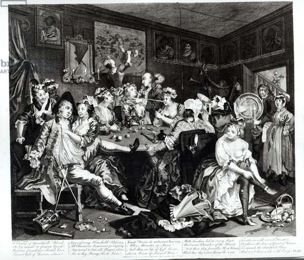 The Orgy, plate III from 'A Rake's Progress', 1733-98 (engraving)