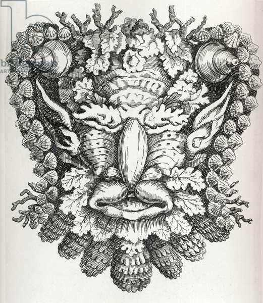 Arcimboldesque Head (etching) (b/w photo)