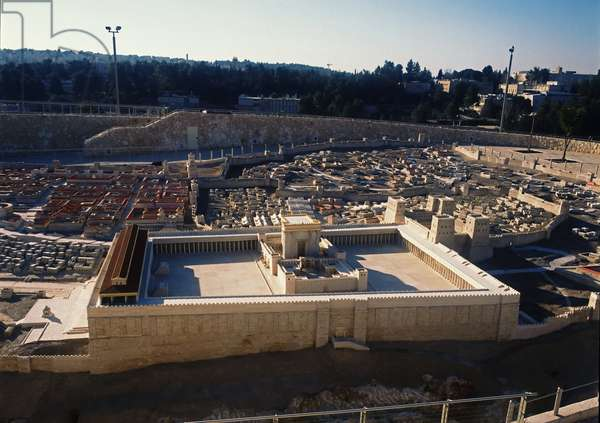 Model reconstruction of Temple Mount and the Temple in Jerusalem in 66 AD (photo)