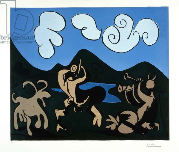 Fauns and Goat, 1959 (colour linocut)