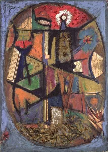 Le Poilu (Hairy/Front-Line Soldier) 1924 (oil & collage on paper)