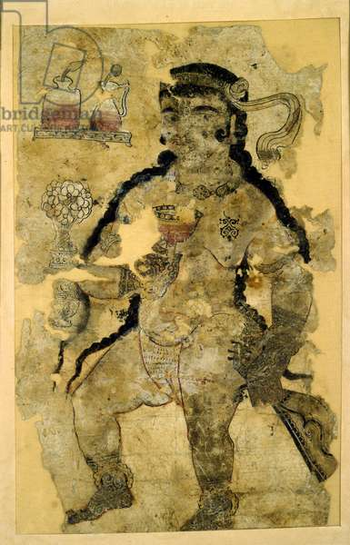 Courtesan, Fatimid Period, Fustat (Cairo) (ink & w/c on paper)