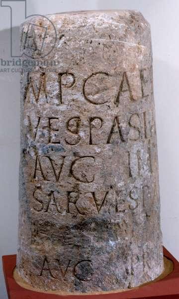 Latin inscription on a milestone, 72-79 (stone)