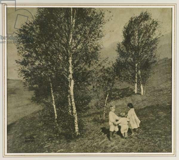 Three Children in a Landscape, c.1902 (gum bichromate print)