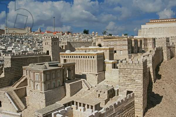 Model reconstruction of the Adiabene Royal Palaces in Jerusalem in 66 AD (photo)