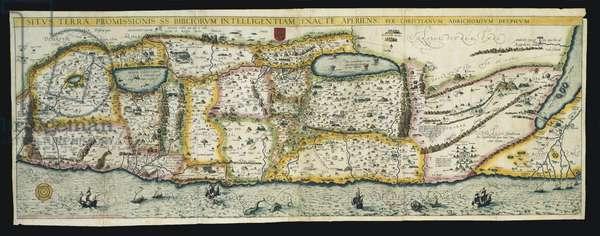 Situs Terrae Promissionis SS Bibliorum intelligentiam exacte aperiens, from Theatrum Terrae Sanctae et Biblicarum Historiarum, Cologne, Officina Birkmanica, pub. 1590, c.1585 (hand coloured engraving)