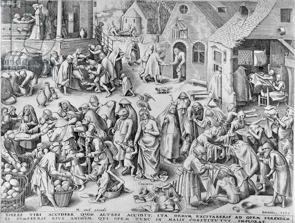 Charity, from The Seven Virtues, 1559 (engraving) (b/w photo)