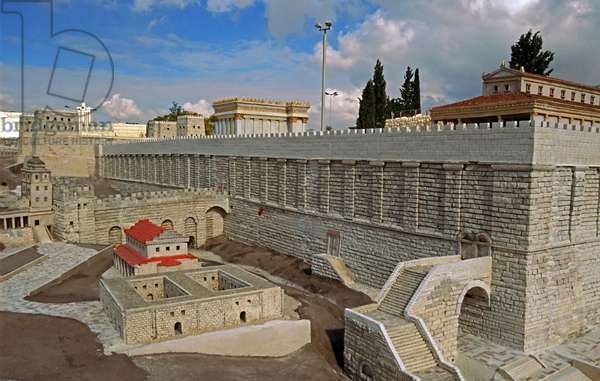 Model reconstruction of the ascent to the Temple Mount in Jerusalem in c.66 AD from the south west showing the southern part of the Western Wall and stairway of Robinson's Arch leading to the Basilica (photo)