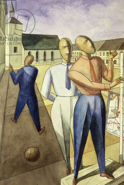 The Engineers, 1920 (w/c, ink & collage on paper)