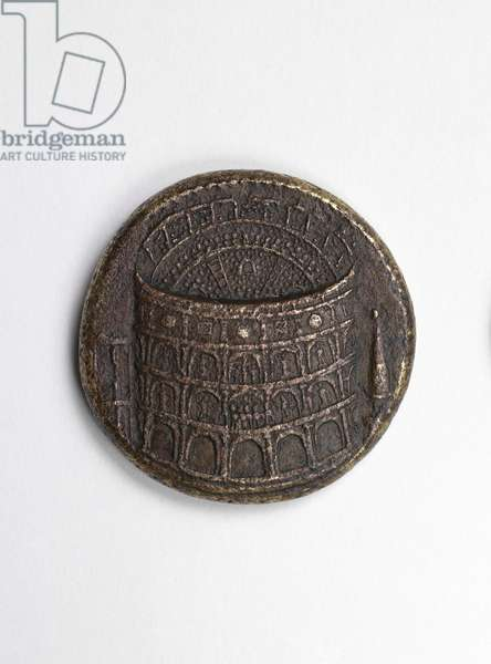 Sestertius of Titus depicting on the obverse an aerial view of the Colosseum in Rome, 80-81 AD (bronze)