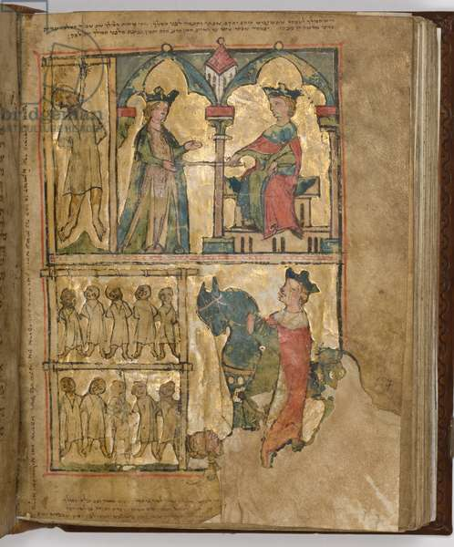 Illustration from the 'The Regensburg Pentateuch', c.1300 (ink, tempera & gold-leaf on paper)