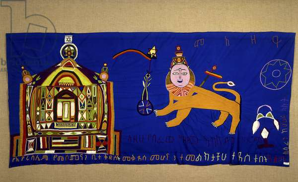 Embroidered cloth depicting the Temple and Lion of Judah, Tigris Region (textile)