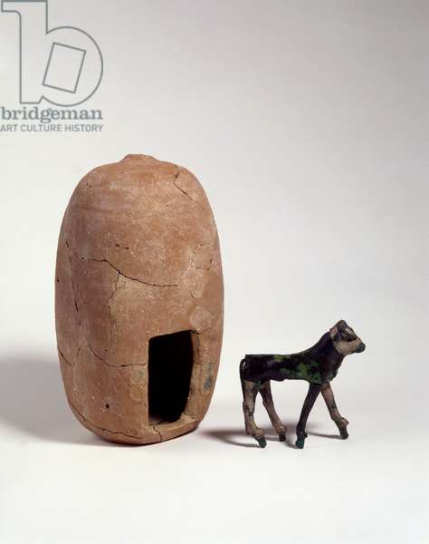 The calf and its shrine, Ashkelon, Middle Canaanite period (pottery & silver-plated bronze)