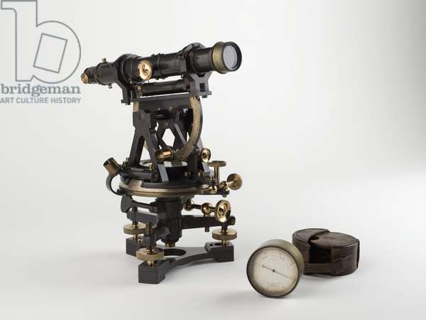 Theodolite and barometer used by the Palestine Exploration Fund's surveyors (photo)
