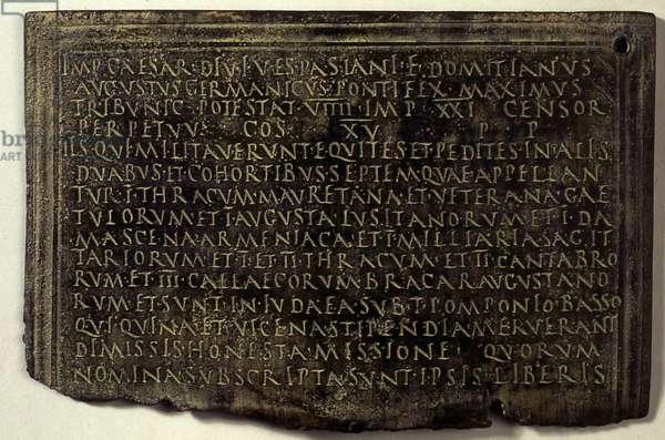 Latin military diploma (bronze)