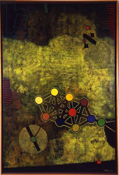 Sign, left panel from the triptych At the Gates of Jerusalem, 1967 (oil on canvas)