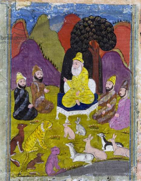 Gayumarth with his court in the mountains, from a lost manuscript of the Shanama by Ferdowsi c.19th century (gouache on paper)