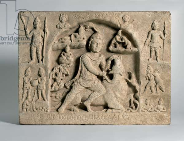 Relief depicting the god Mithra slaying a bull, Roman period, 2nd- 3rd century (limestone)